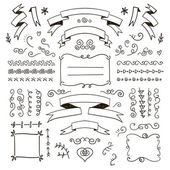 Floral decor set of hand drawn doodle frames dividers borders elements Isolated
