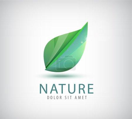 Illustration for Green leaf, nature, organic icon, logo isolated - Royalty Free Image