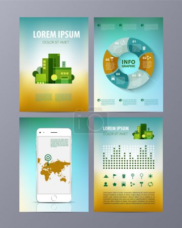Abstract Brochure Flyer design vector template in A4 size with infographics