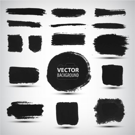 Illustration for Vector set of ink brush strokes - Royalty Free Image