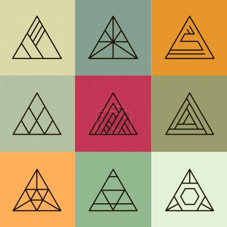 Illustration for Set of geometric shapes, triangles. Trendy logotypes. Geometric line icons. Vector illustration - Royalty Free Image