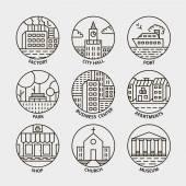 Vonal város kör ikonok