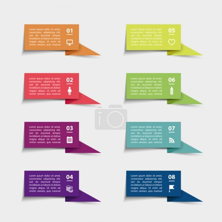Vector paper flag stickers and labels with realist...