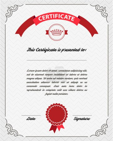 Illustration for Template diploma, certificate currency. Vector. Vertical modern template - Royalty Free Image