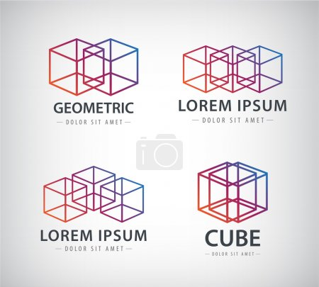 Illustration for Vector set of cube construction logos, icons isolated - Royalty Free Image