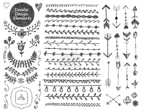 Illustration for Vector floral decor set, collection of hand drawn doodle frames, dividers, borders, arrows design elements. Isolated. - Royalty Free Image