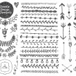 Vector floral decor set, collection of hand drawn ...