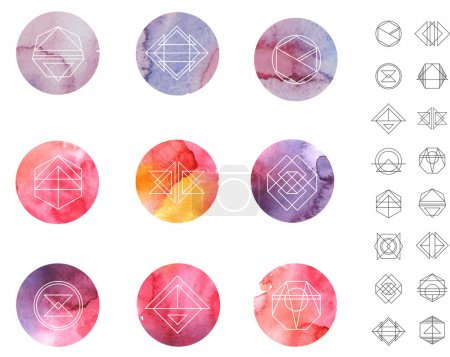 Illustration for Abstract watercolor circles Patterns Set with Hipster Style Icons for Logo Design. Line Retro Signs for Logotypes and Business Cards. - Royalty Free Image