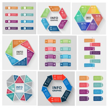 Illustration for Vector set of circle abstract infographics. Template for diagram, graph, presentation and chart. Business concept with options, parts, steps or processes. Abstract background. - Royalty Free Image