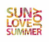 Vector inspirational quote - Sun love summer joy for t-shirt card Print colorful slogan