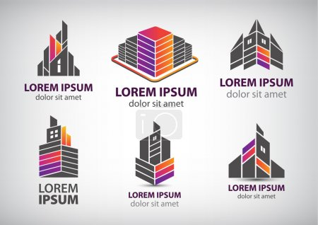 set of buildings logos
