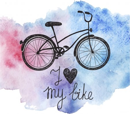 """Illustration for Vector hand drawn bicycle on watercolor background. """"I love my bike"""" text - Royalty Free Image"""