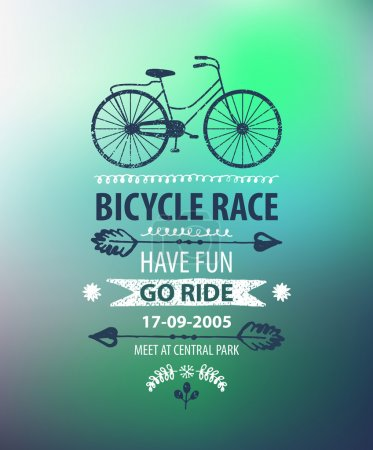 Illustration for Vector bicycle poster. Bike race banner on blurred background - Royalty Free Image