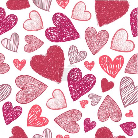 doodle red hearts background