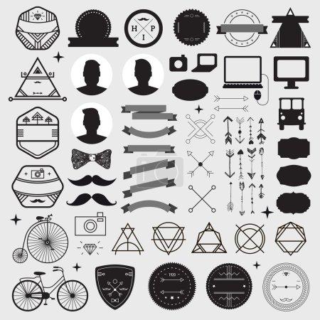 Illustration pour Énorme ensemble d'icônes hipster design style vintage. Modèles de signes et symboles vectoriels. Ensemble de téléphone, gadgets, moustache, rubans élément d'infographie, badges, logos - image libre de droit