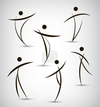Set of abstract line man