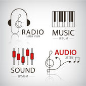 Vector musical logos and icons - set of design elements - music and audio concepts