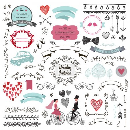 Illustration for Vector set of vintage hand drawn wedding design elements, ribbons, invitation, decorative elements. Wedding collection - Royalty Free Image