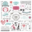 Vector set of vintage hand drawn wedding design el...