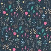 Vector seamless floral pattern Romantic cute background with hand drawn flowers Use as fabric wrapping paper decor background of invitations cards etc Dark blue background