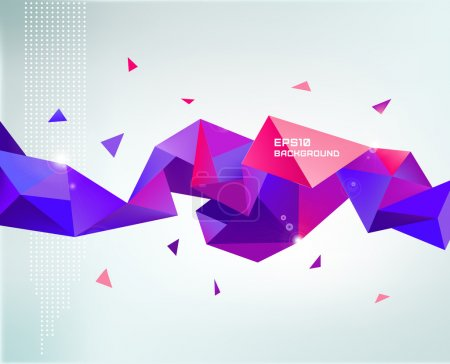 Illustration pour Vecteur abstrait coloré violet facettes cristal bannière, forme 3D avec triangles, géométrique, modèle moderne - image libre de droit