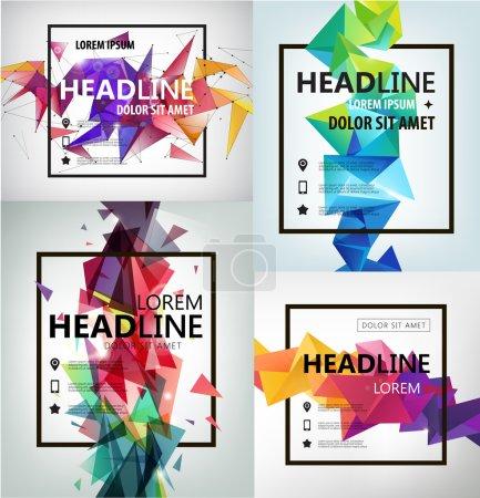 Illustration pour Ensemble vectoriel d'affiches, de bannières, de circulaires, de couvertures et de gabarits à facettes. Cristal moderne formes 3D avec espace de texte et carré - image libre de droit