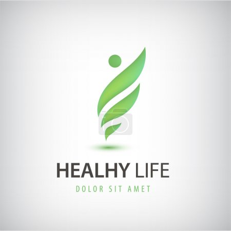 Illustration for Vector healthy life, man, eco, leaves logo, icon isolated. - Royalty Free Image