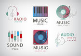 Vector set of music logos icons signs isolated Headphones notes piano sound logos