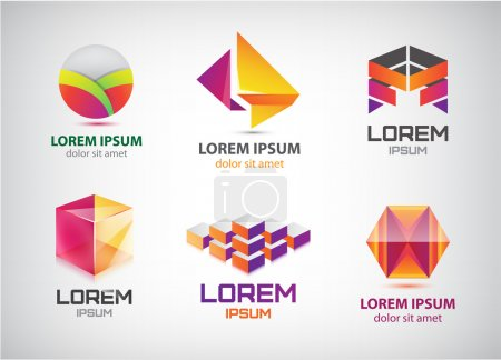 set of abstract colorful 3d logos