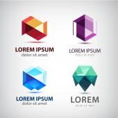 Set of crystal 3d logos