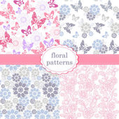 Set of patterns of flowers and butterflies in pastel pink and blue tones Set of seamless vector patterns