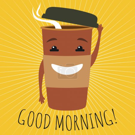 graphic illustration with cute cup