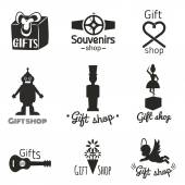 set with toys gifts and souvenirs icons