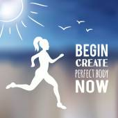Running woman with blur beach