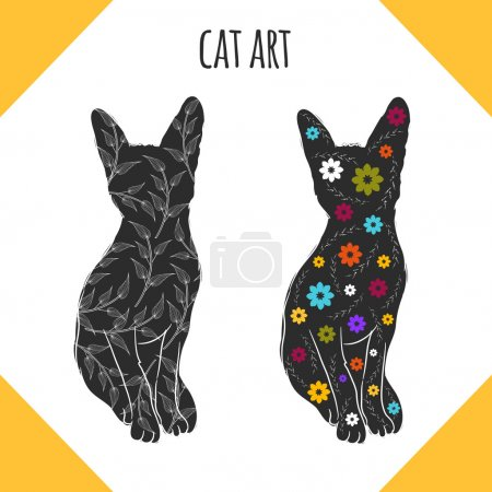 pop art cats silhouettes.