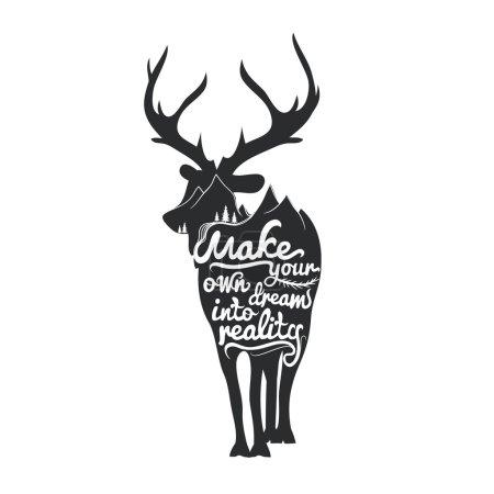 Illustration pour Affiche romantique avec silhouette de cerf. Réalisez vos propres rêves. Illustration vectorielle inspirée de la typographie . - image libre de droit