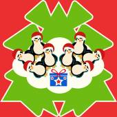 group of penguins with abstract christmas tree