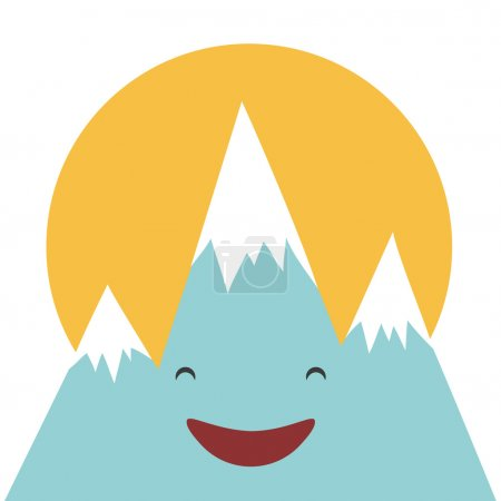 Illustration for Kawaii funny blue mountain with happy smiley face. Yellow sun on the background. Laughing vector character, good weather, sunny day - Royalty Free Image