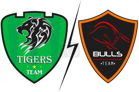 Tiger And Bulls sports logo