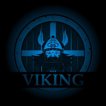 Viking emblem appearing out of the darkness. Logo....