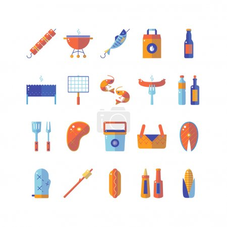 Summer barbecue colorful flat icon set.