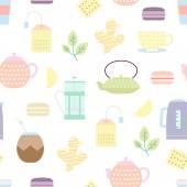 Tea culture objects pattern