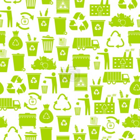 Recycling garbage icons seamless pattern
