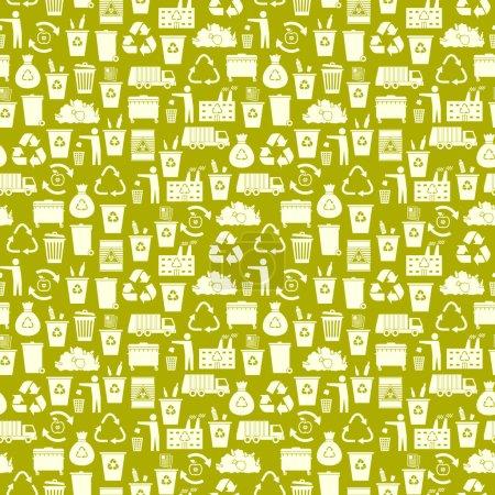 Illustration pour Recyclage des icônes poubelle motif sans couture. Utilisation des déchets. Illustration vectorielle . - image libre de droit