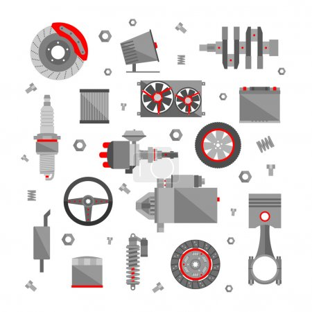 Illustration for Set of auto spare parts isolated on white background. Car repair icons in flat style. Vector illustration - Royalty Free Image