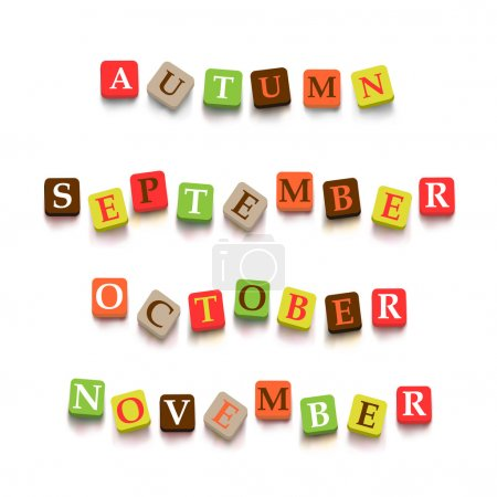 """Illustration for Words """"autumn"""", """"September"""", """"October"""" , """"Novtember"""" with colorful blocks isolated on a white background. Description with bright cubes. Vector illustration - Royalty Free Image"""
