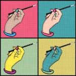 Female hand with cigarette holder pop art vector s...