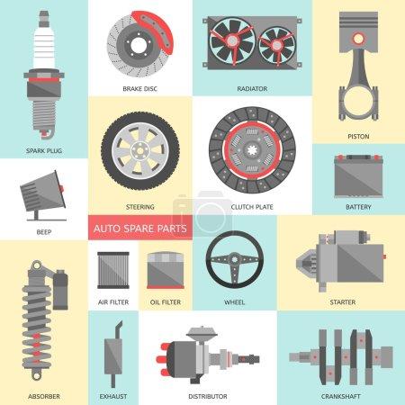 Illustration pour Ensemble de pièces détachées automobiles. icônes de réparation de voiture dans le style plat. Illustration vectorielle - image libre de droit