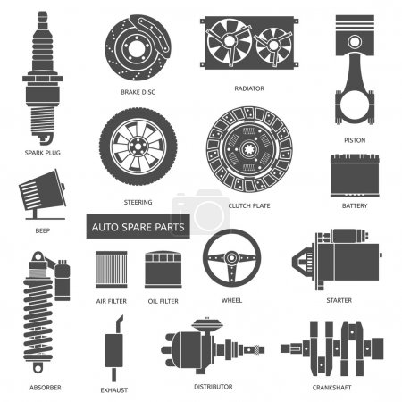Illustration for Set of auto spare parts. Car repair icons in flat style. Vector illustration - Royalty Free Image