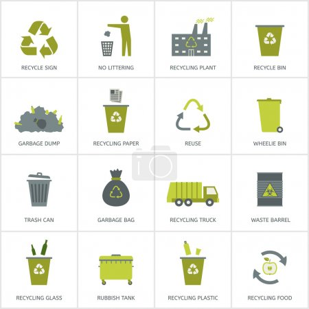 Recycling garbage icons set.